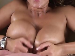 Big-boobed mature doll passionately sucks a tasty prick in POV mode