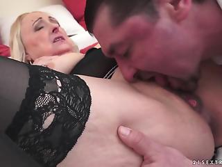 Good-looking blondie mature got her crack fucked by younger man