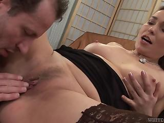 Stockings-clad MILF fucking like a total tramp