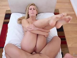 Foot fetish mommy seducing her big-dicked stepson
