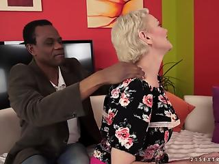 Blond-haired beauty destroyed by a thick black cock