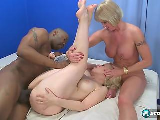 Twentysomething blonde teams up with a MILF to fuck a BBC